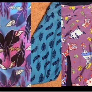 LulaRoe Disney & Feather leggings TC